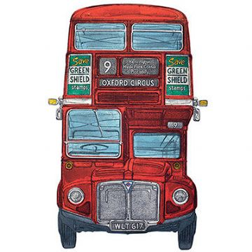 "BLANK CARD ""ROUTEMASTER LONDON BUS"" LARGE SQUARE SIZE 6.25"" x 6.25"" 8845 EVEH"